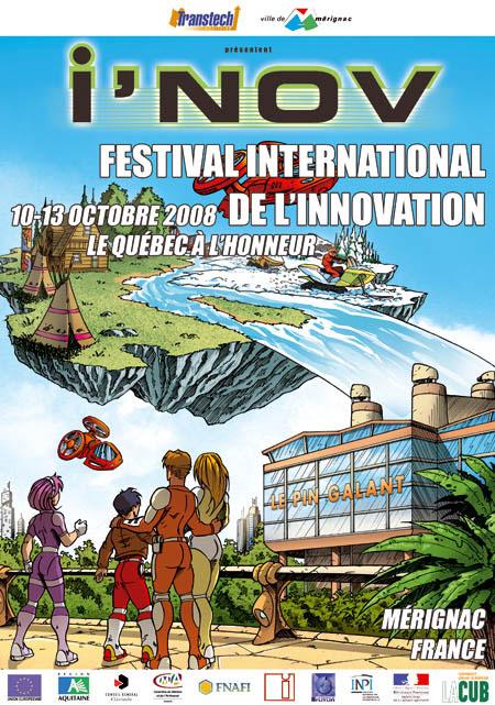 Festival i'NOV 2008 : affiche réalisée par Samuel Ménétrier et Frédéric Vigneau. Le festival i'NOV est organisé par Transtech.