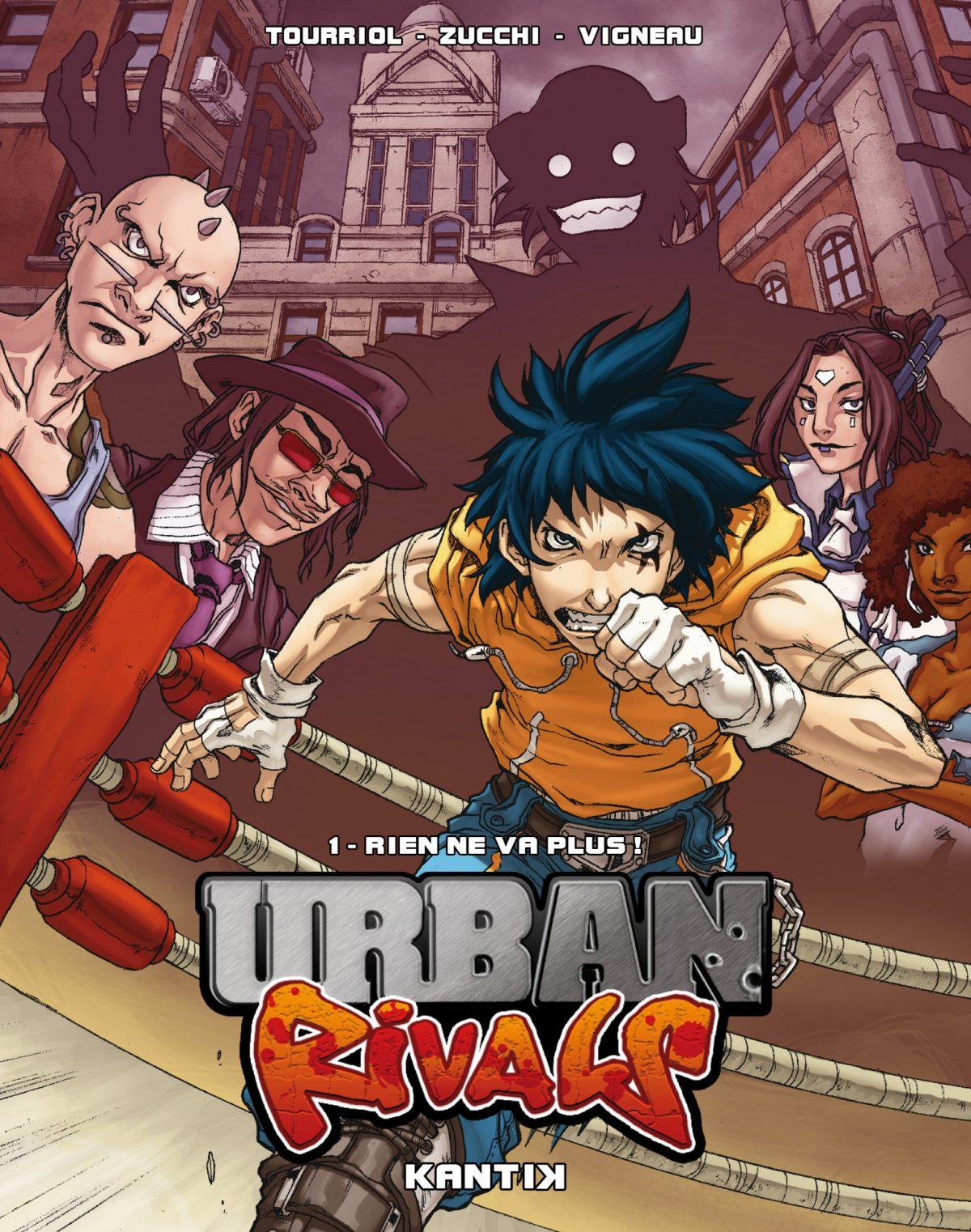 Urban Rivals : Rien ne va plus ! Croquis préparatoire pour la couverture de l'album Urban Rivals chez Kantik. Dessin : Rocio Zucchi. Couleur : Fred Vigneau.
