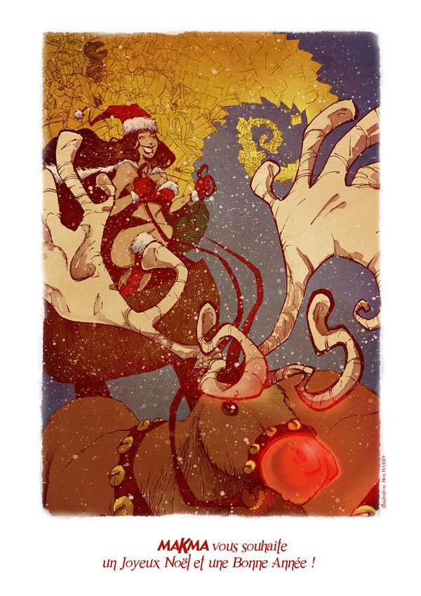 Joyeux Noël ! Ben Basso illustre en couleur la carte de vœux virtuelle de MAKMA.