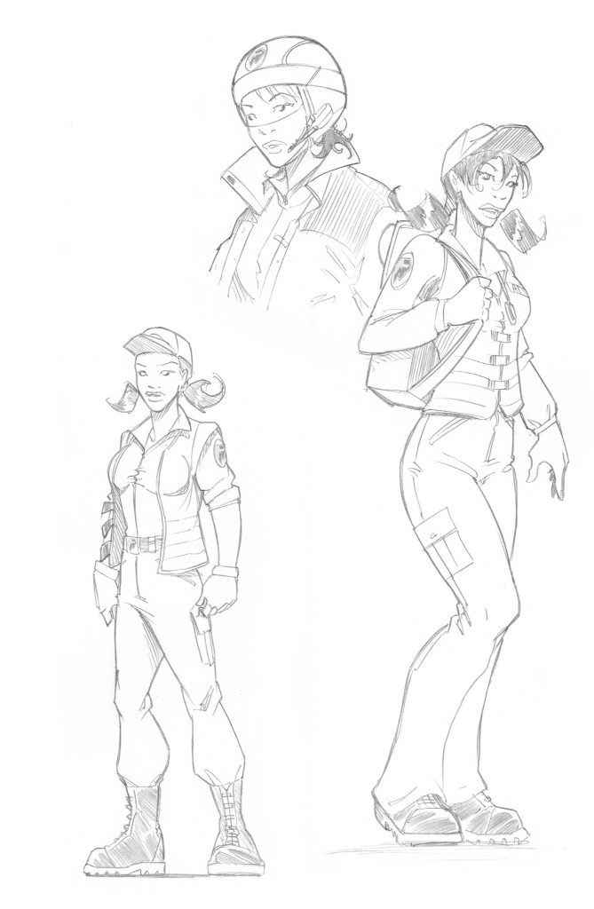 Premiers crayonnés du personnage Anita du jeu Urban Rivals.