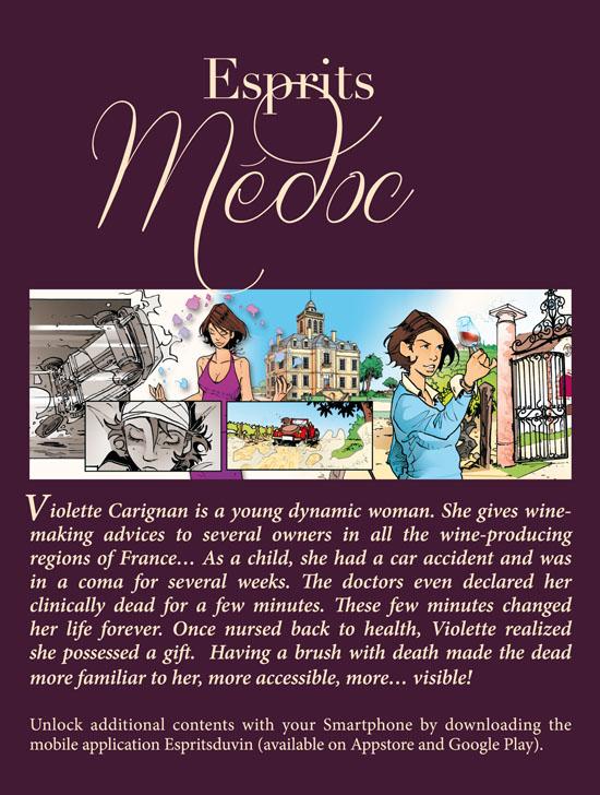 Quatrième de couverture : Esprits Médoc. Traduction du français vers l'anglais par Nick Meylaender.