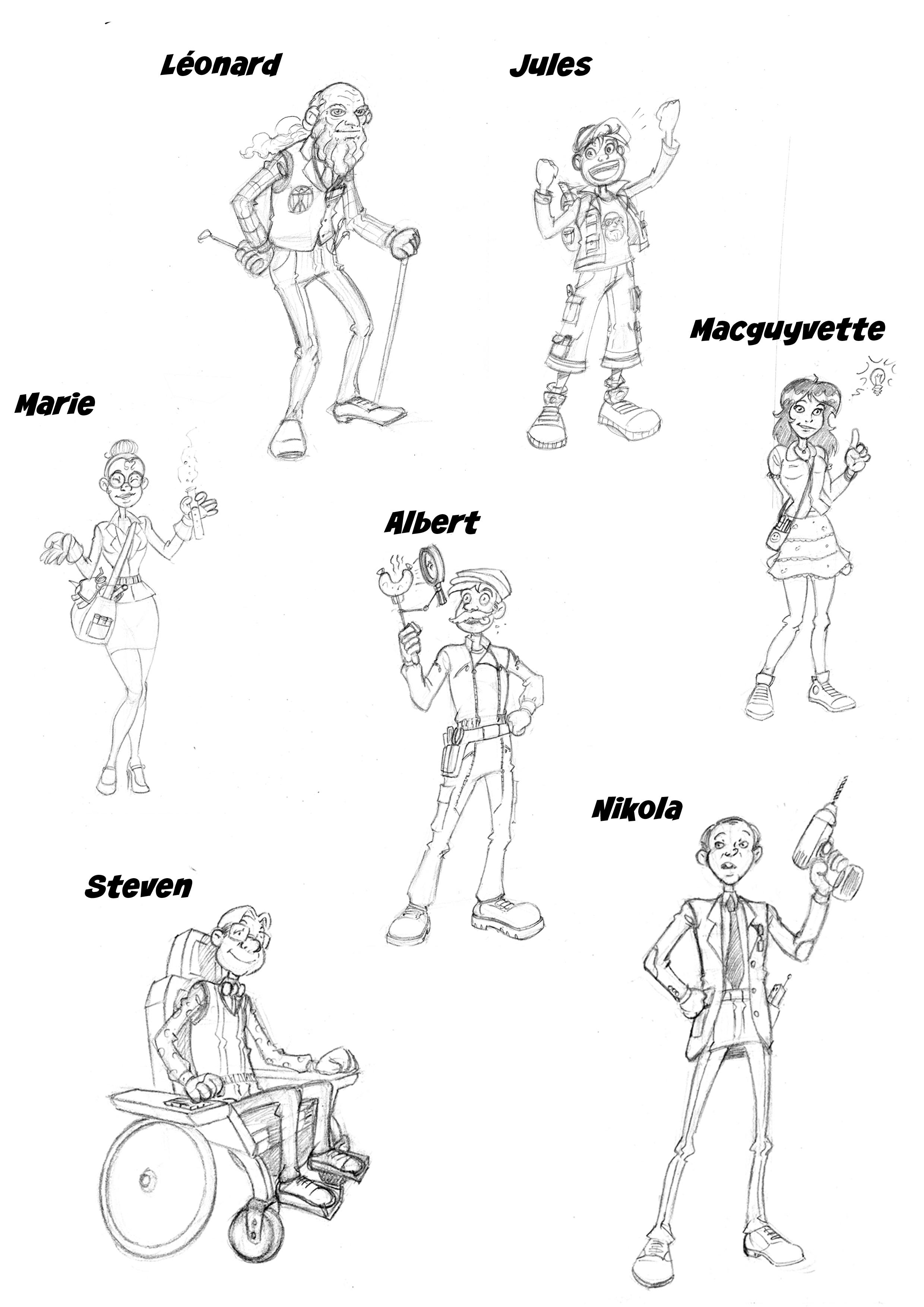 Les personnages de la Brigade des Inventifs, Super-héros de l'invention, par Samuel Ménétrier