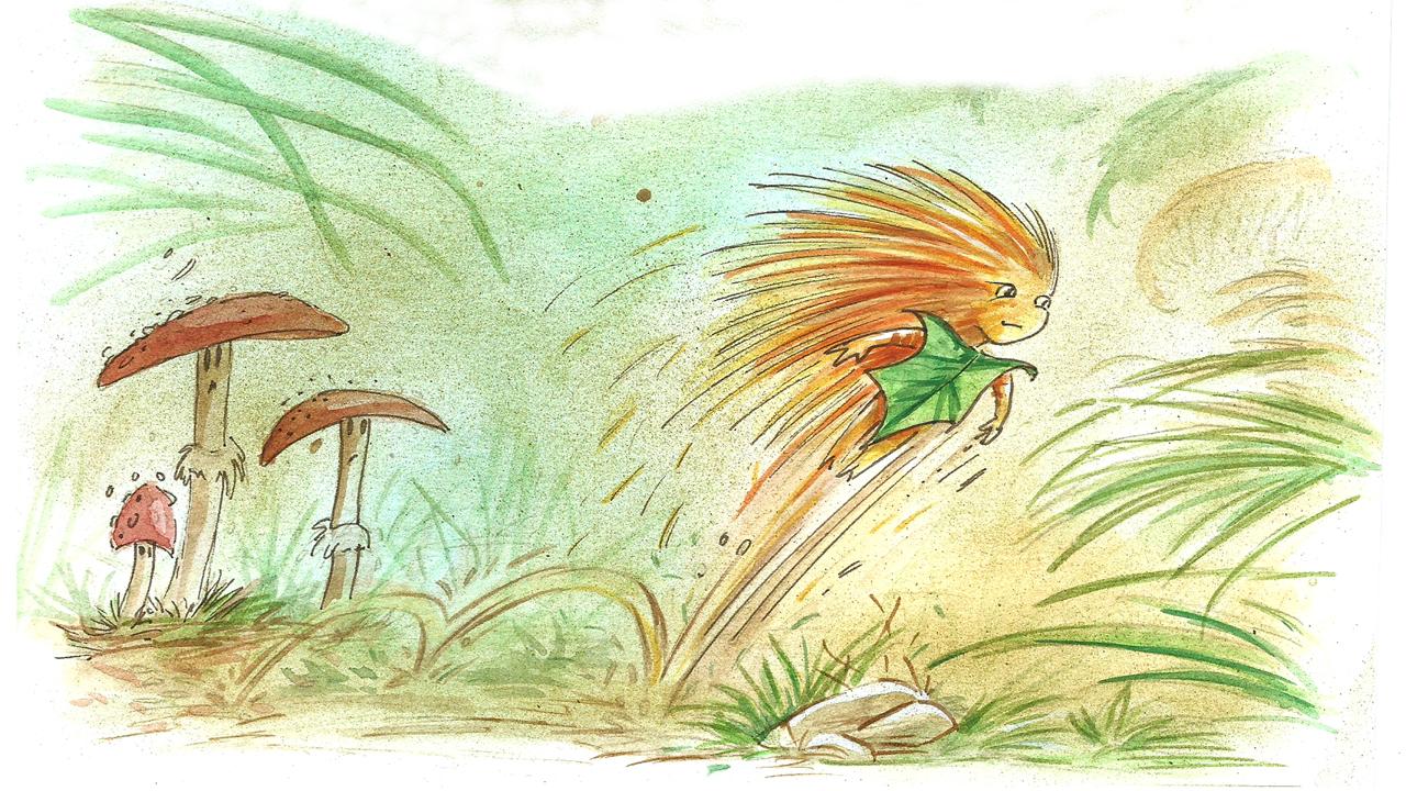 Châtaigne court à travers la forêt par Denis Lapierre