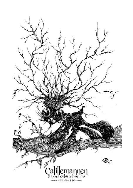 Calillemannen : illustration de Ben Basso extraite de son artbook De Creaturis Dementiae édité en crowdfunding sur le label Flibusk