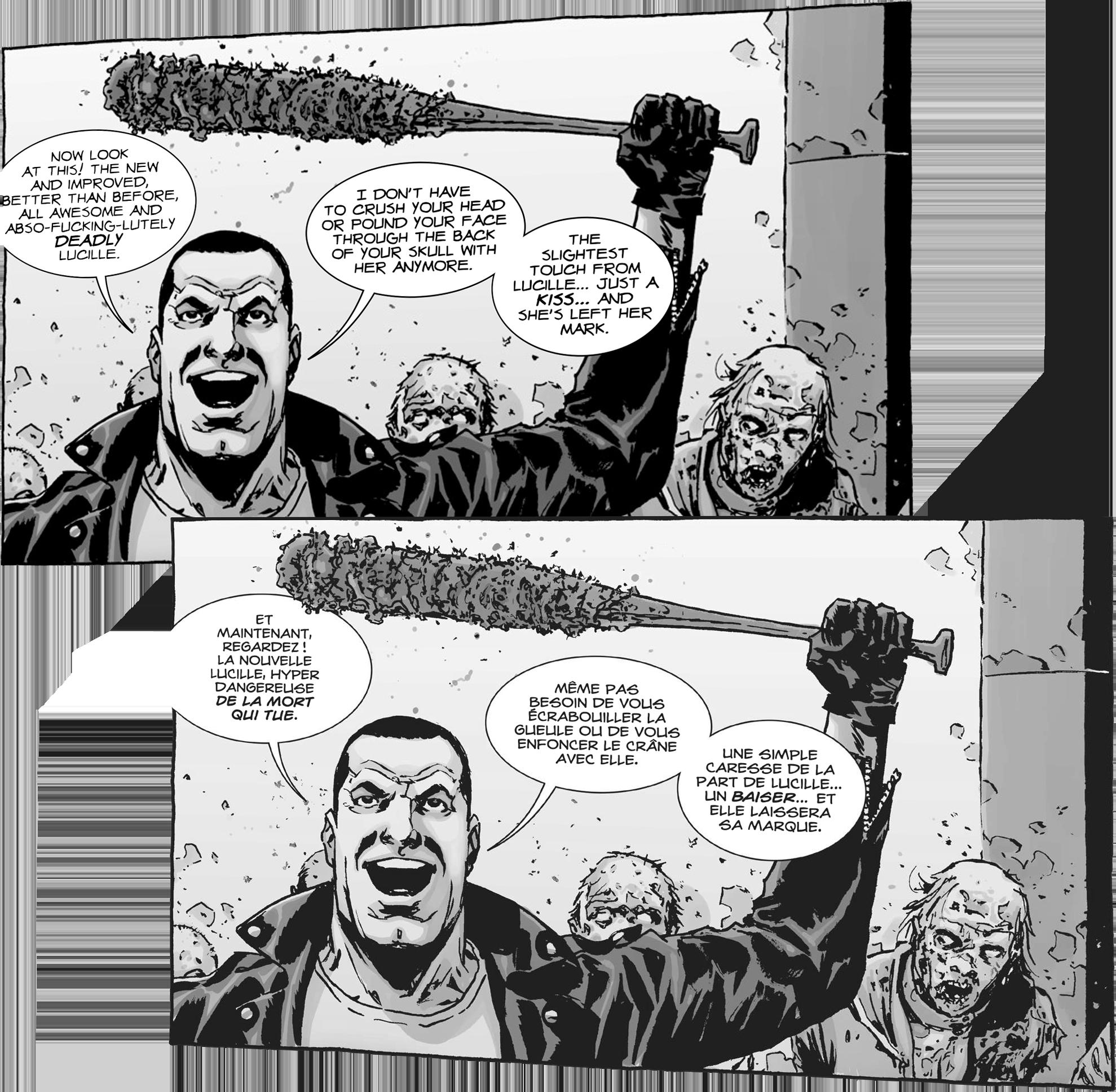 Agence de traduction BD, de transcréation et de localisation : MAKMA. Illustration The Walking Dead (TWD) Negan © Skybound Entertainment et © Groupe Delcourt pour la VF. MAKMA's been translating and lettering comics since 2001.