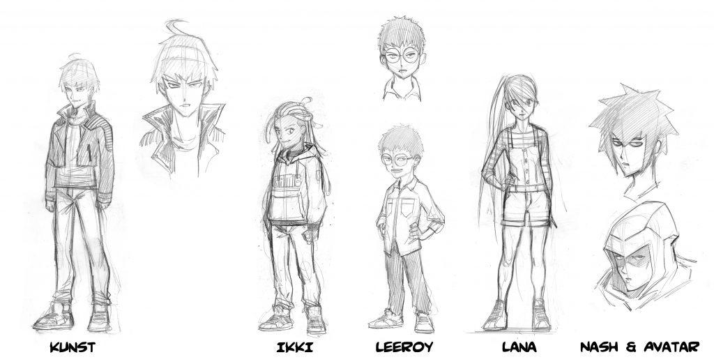 Crayonnés du dessinateur Albert Carreres pour le manga Epic Lanes © Hachette Comics.