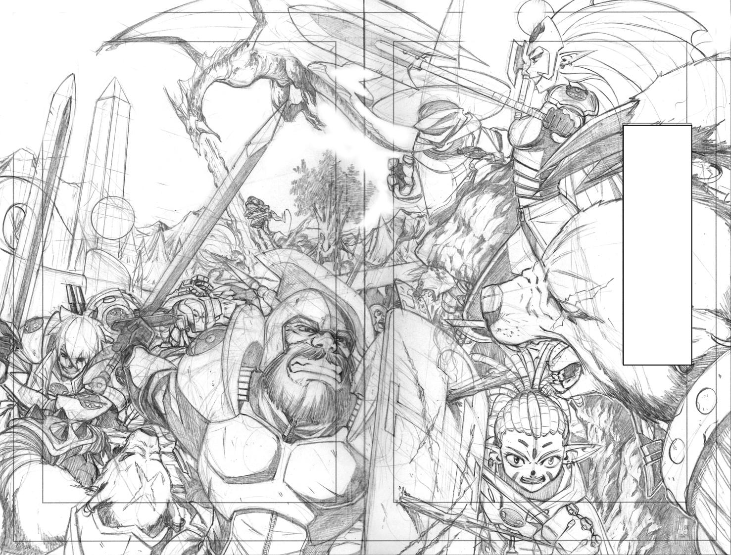 Epic Lanes tome 1 pages 02-03. Dessin crayonné : Albert Carreres. Epic Lanes © Hachette Comics.