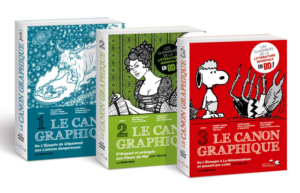 Packaging BD des trois volumes pour Télémaque.