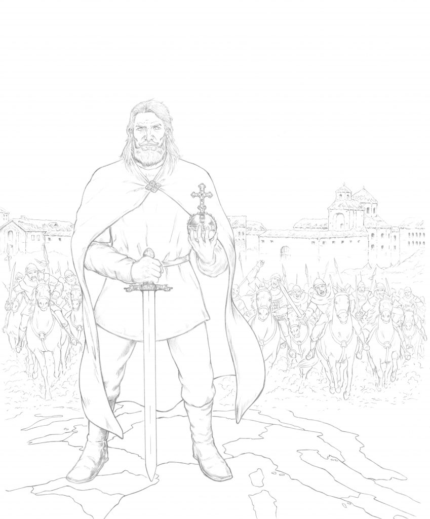 Charlemagne en BD : dessin de couverture par Hervé Breuil
