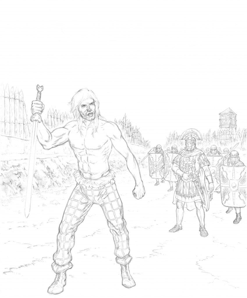 Vercingétorix se rend aux Romains à Alesia, par Hervé Breuil.
