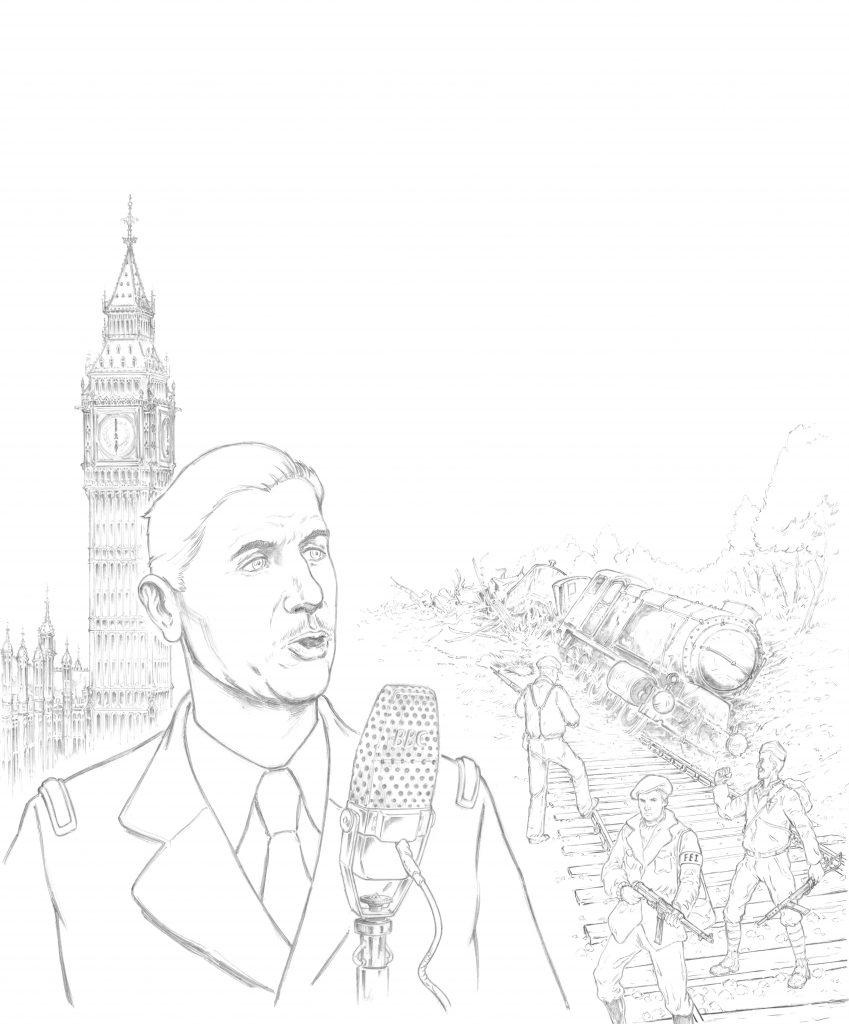 Le Général De Gaulle en plein appel du 18 juin : illustration Hervé Breuil.