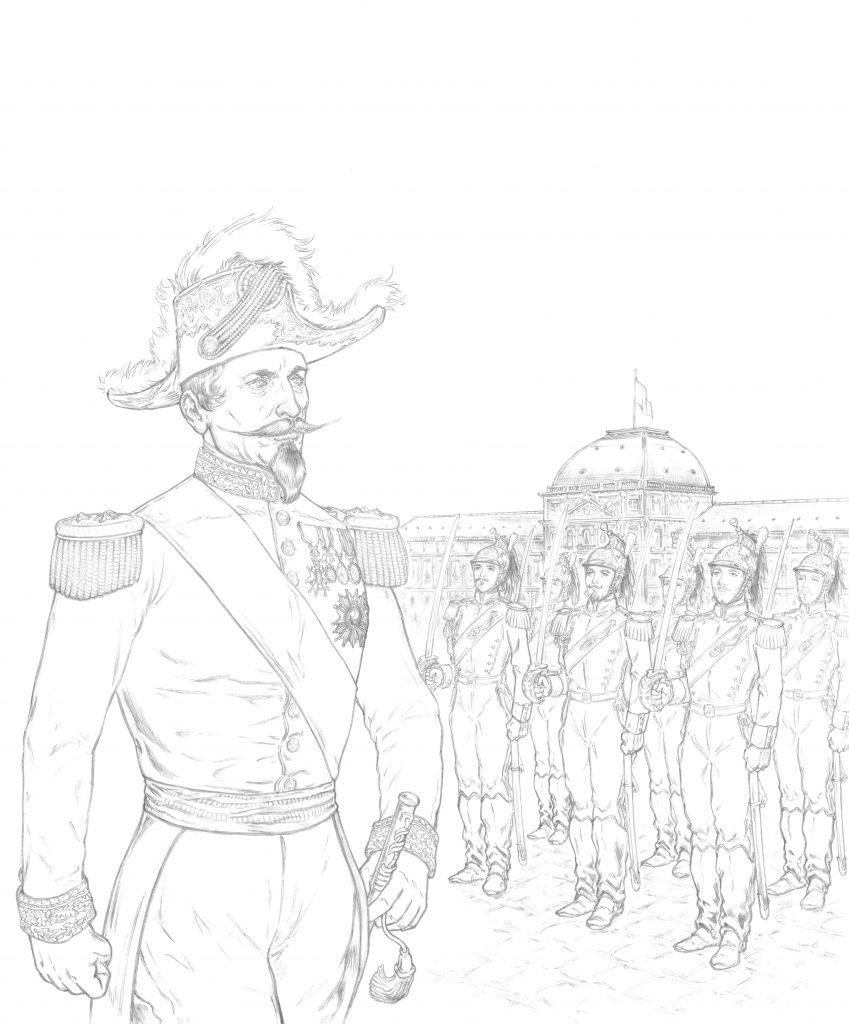 Hervé Breuil dessine la couve de Napoléon III en BD.