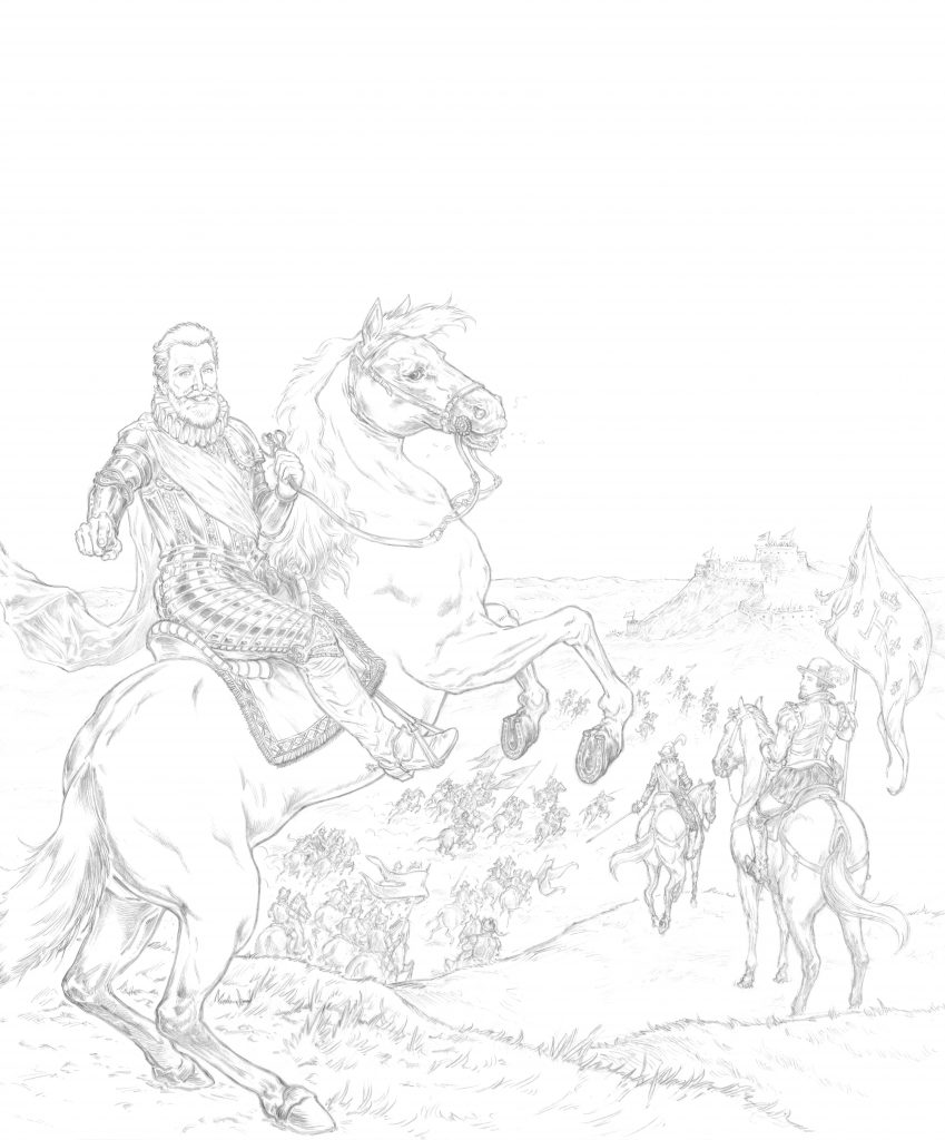 Représentation équestre du roi Henri IV par Hervé Breuil.