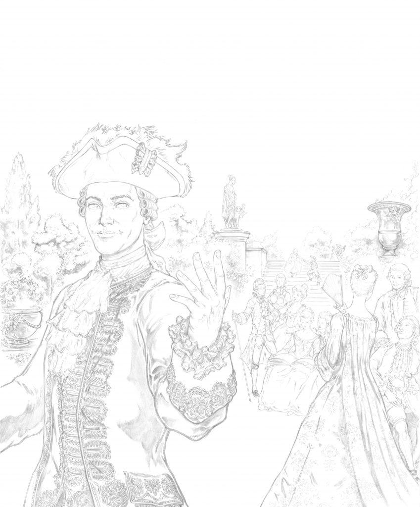 L'illustrateur Hervé Breuil crayonné Louis XV.