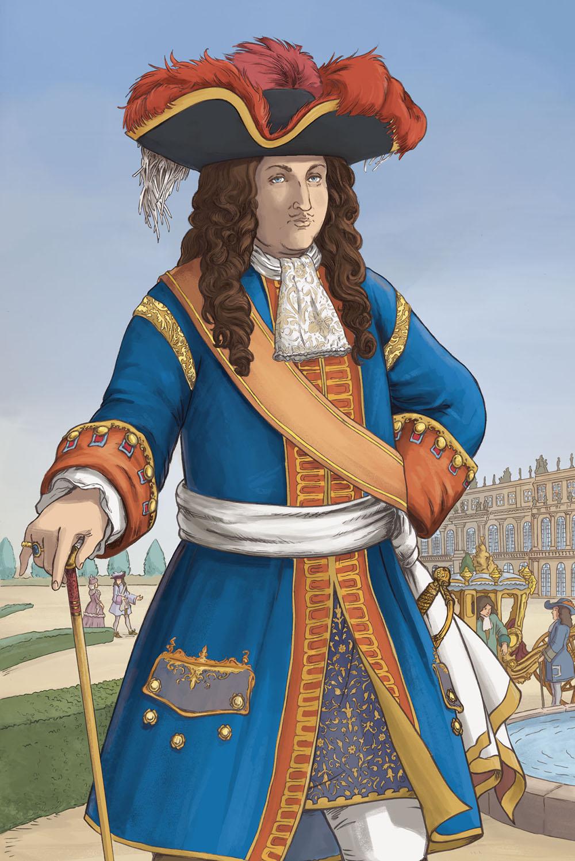 """Louis XIV en BD : version """"bleue"""" du costume du Roi-Soleil."""