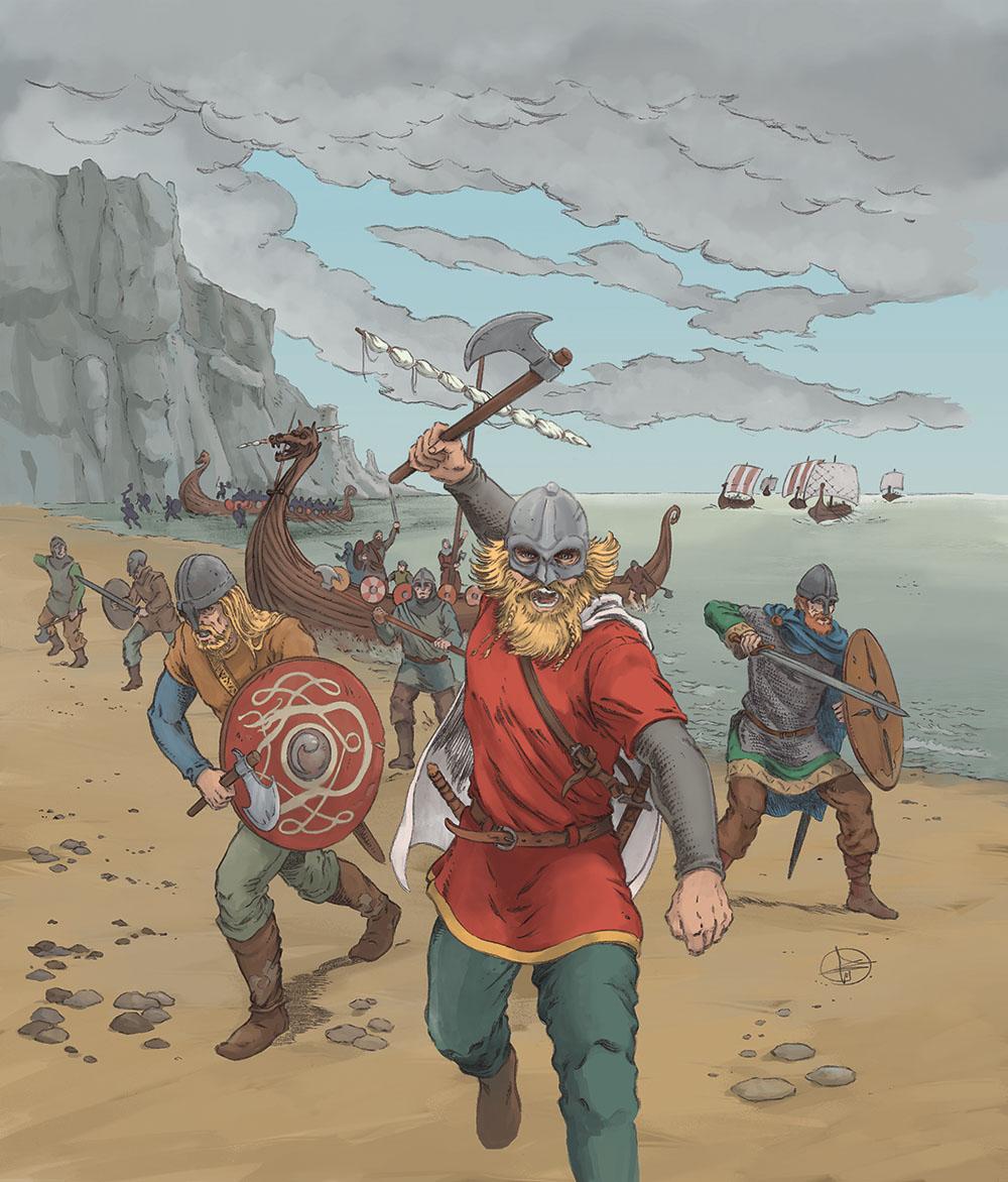 Les Vikings : dessin d'Hervé Breuil et couleurs d'Esther Chahian.