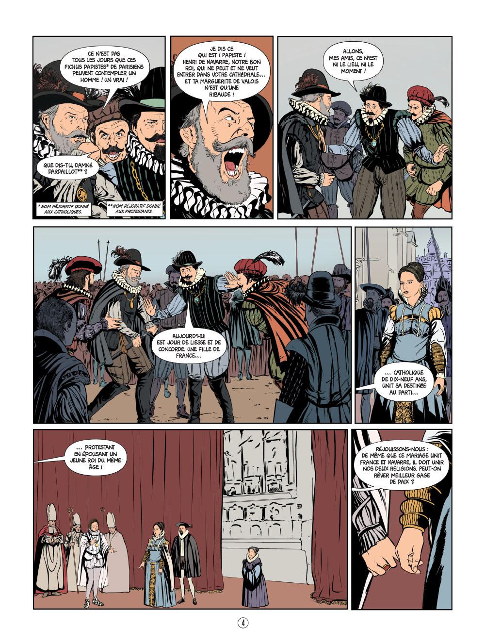 Henri IV en BD : un album de bande dessinée illustré par Klever Flores pour le compte du studio MAKMA.